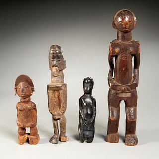 (4) old African carved wood figures, ex-museum