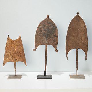Bangala Peoples, (3) iron currencies, exhibited