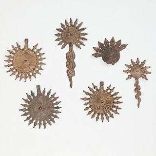 Gan/Lobi Peoples, (6) bronze pendants