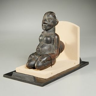 African fertility figural pipe bowl, ex-museum