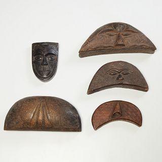 Kuba Peoples, (5) lidded tukula cosmetic boxes