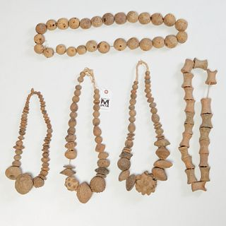 (5) large African terracotta bead necklaces
