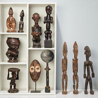 Group (11) African wood carvings