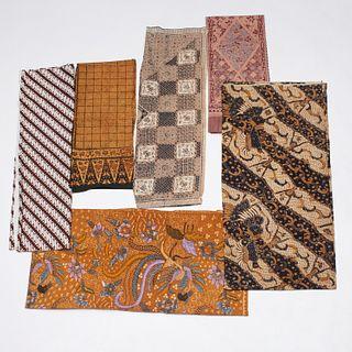 Group (6) Indonesian batik textiles