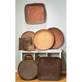 Kuba Peoples, group woven trays and satchels