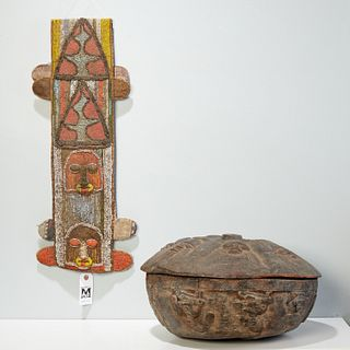 Yoruba Peoples, carved container and beaded panel
