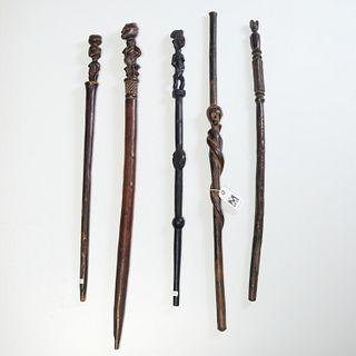 Group (5) African anthropomorphic wood staffs
