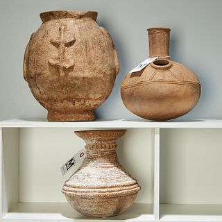 (3) African tribal pottery vessels