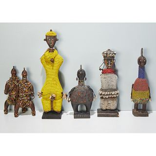 Group (6) African beaded carved wood dolls