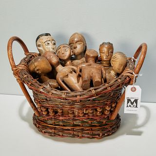 Collection African carved wood dolls