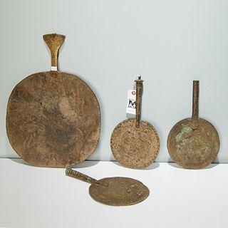 Yoruba Peoples, brass ceremonial fans
