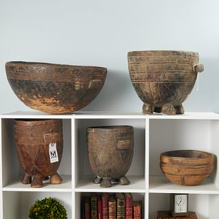 Group African carved wood bowls and mortars