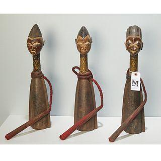 Yoruba Peoples, wood and iron figural gongs