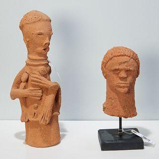 Style of Katsina Culture, (2) terracotta figures