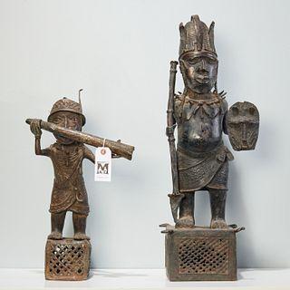 (2) Large Benin style bronze figures
