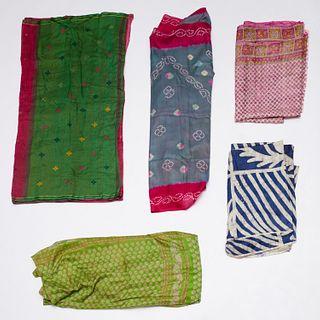 Group (5) Indian silk saris