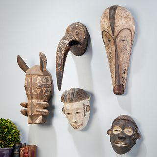 Group (5) West African style masks