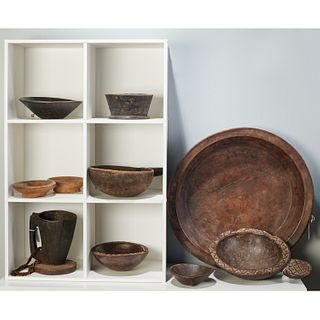 Collection East African carved bowls and platters