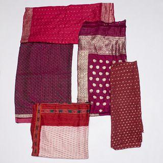 Group (6) Indian silk saris