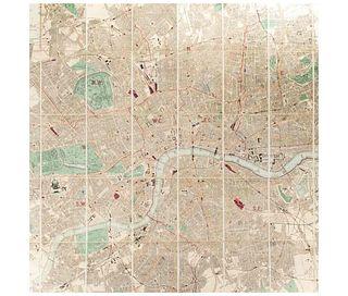 Collin's Standard Map of London. London: Edward Stanford, ca. 1880. Mapa coloreado, plegado y montado sobre tela.