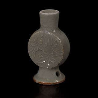 An Unusual Chinese celadon-glazed miniature molded moonflask 青釉袖珍月亮瓶 Probably Ming/early Qing dynasty 或明至清早期