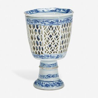 A Chinese blue and white porcelain reticulated stemmed cup 青花镂空高足杯 17th/18th century 十七或八世纪