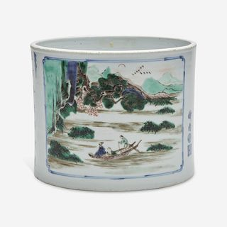A Chinese famille verte-decorated porcelain brush pot 五彩笔筒