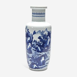 A Chinese blue and white porcelain rouleau vase 青花山水人物纸槌瓶