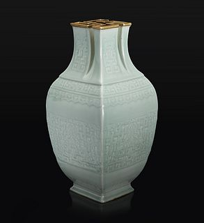 """A very rare Chinese carved celadon-glazed porcelain """"萬""""-Mouthed Vase 珍罕粉青釉萬字口大瓶 Qianlong six-character seal mark in low relief and of the period 乾隆六字款"""