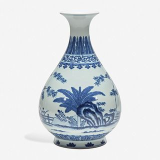 lot 28: A Chinese blue and white porcelain vase, Yuhuchunping 青花玉壶春瓶