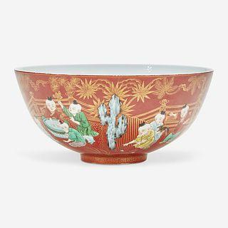"A Chinese famille verte coral-ground porcelain ""Boys"" bowl 五彩珊瑚地""童子""碗"