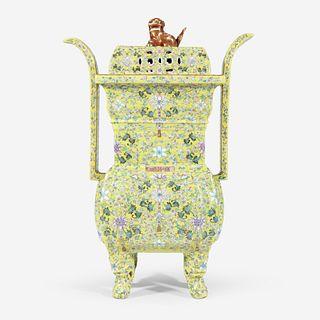 A Chinese yellow-ground enameled porcelain censer and cover 珐琅彩黄地带盖瓷香炉 Apocryphal Qianlong marks 乾隆款