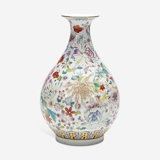"""A Chinese famille rose-decorated """"100 Flowers"""" vase, Yuhuchunping 粉彩百花瓶 Xuantong six-character mark and possibly of the period 宣统六字款 或清宣统"""