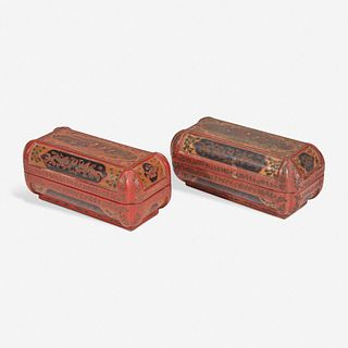 An associated pair of Chinese incised lacquer boxes 戗金漆盒一对 Late 16th / early 17th century 十六世纪末或十七世纪初