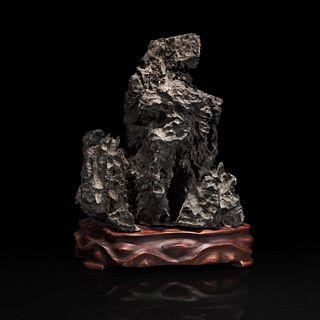 A Chinese tall grey Lingbi-style scholars stone 灵璧石一件