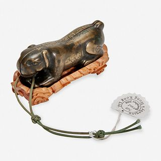 """A Chinese inscribed archaistic bronze """"Tiger"""" tally 嵌金铜虎符 Possibly Ming Dynasty 或明"""