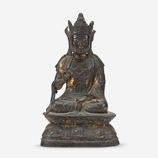 A Chinese lacquered bronze figure of Guanyin 铜加漆观音造像 Ming Dynasty 明