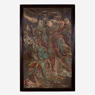 A Chinese polychrome stucco panel 灰泥彩绘天女图壁画 Yuan/Ming Dynasty or later 元/明或更晚