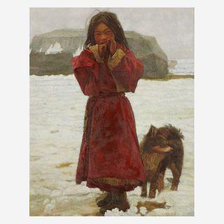 Zhang Xiexiong (Chinese b.1977-) 张谢雄 Tibetan Girl with Dog 油画西藏小女孩与小狗 2000