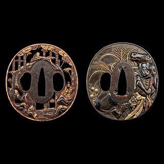 A Japanese gold-inlaid iron tsuba and a mixed-metal tsuba 日本嵌金刀镡以及混合金属刀镡各一件 Edo-early Meiji period 江户至明治早期