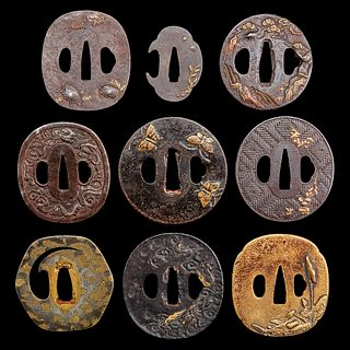 A group of nine assorted Japanese iron, brass, and soft metal tsuba 日本刀镡一组九件 Edo-Meiji period 江户至明治