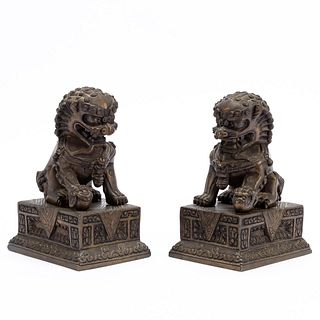 PAIR, CHINESE BRONZE GUARDIAN LIONS ON BASES