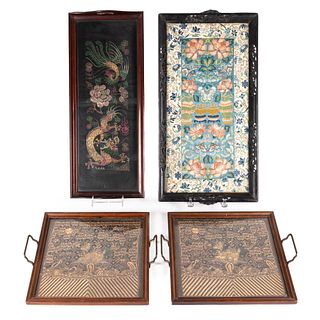 FOUR TRAYS WITH CHINESE EMBROIDERY PANELS