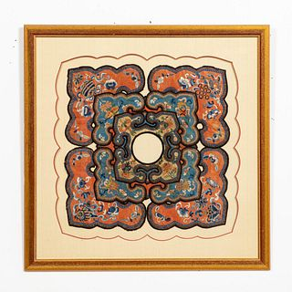 FRAMED CHINESE SILK EMBROIDERED CLOUD COLLAR