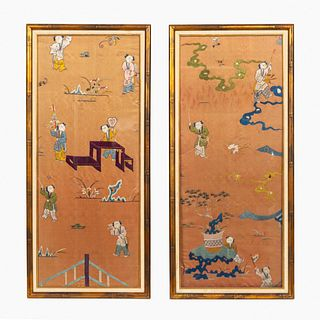 PAIR, CHINESE FRAMED FIGURAL EMBROIDERY WORKS
