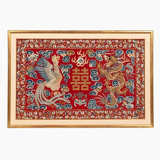 CHINESE RED & GILT DRAGON & PHOENIX EMBROIDERY
