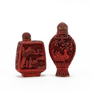 CHINESE TWO CARVED CINNABAR SNUFF BOTTLES