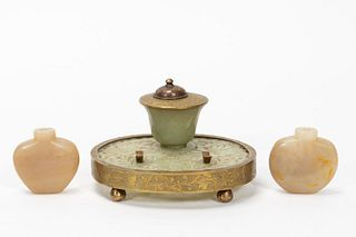 3 PC., CHINESE CARVED JADE INKWELL & SNUFF BOTTLES