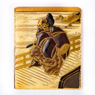 SMALL JAPANESE LACQUERED WARRIOR MOTIF CARD CASE