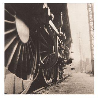 RENÉ ZUBER. Locomotora. Impreso en Francia. Década de los 1930's. Fotograbado. Sin enmarcar. 19 x 19 cm